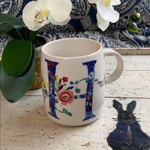 """Anthropologie Floral """"H"""" Mug"""
